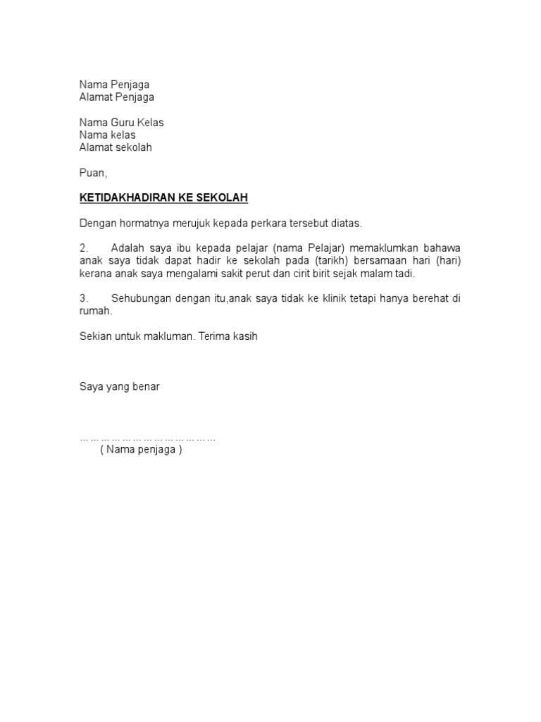 Contoh Surat Rasmi Tidak Hadir Ke Sekolah Kerana Balik Slidehd Co