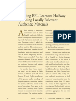 Defining Authentic Meeting EFL Learners Halfway by Using Loclly Relevant Authentic Materials