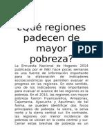 Qué Regiones Padecen de Mayor Pobreza