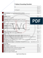 APA 6 the d Formatting Checklist