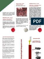Programme de la commémoration de la Révolution des Oeillets à la Maison du Portugal, semaine du 25 avril 2008