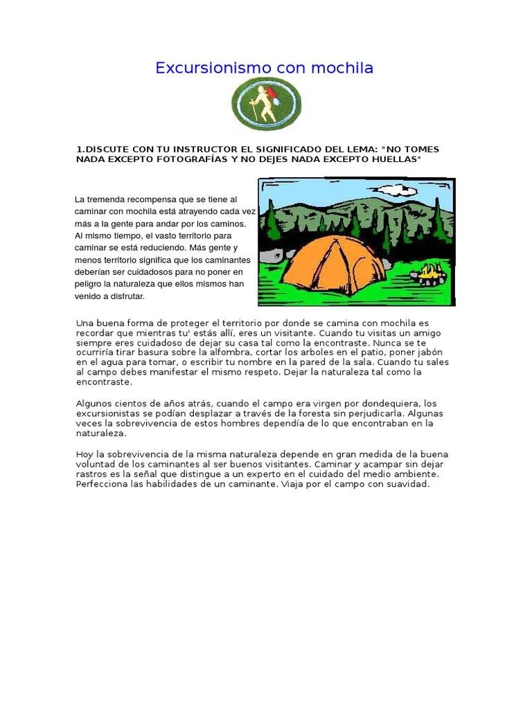 19. Excursionismo Con Mochila-especialidad Desarrollada
