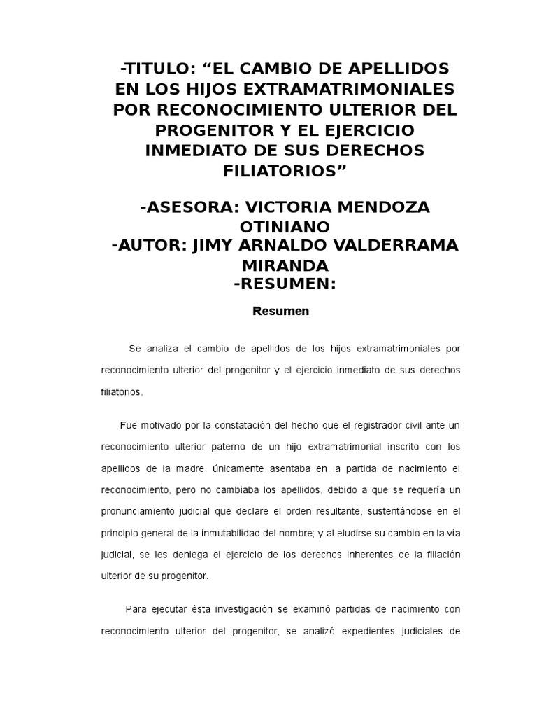 El Cambio de Apellidos en Los Hijos Extramatrimoniales Por ...