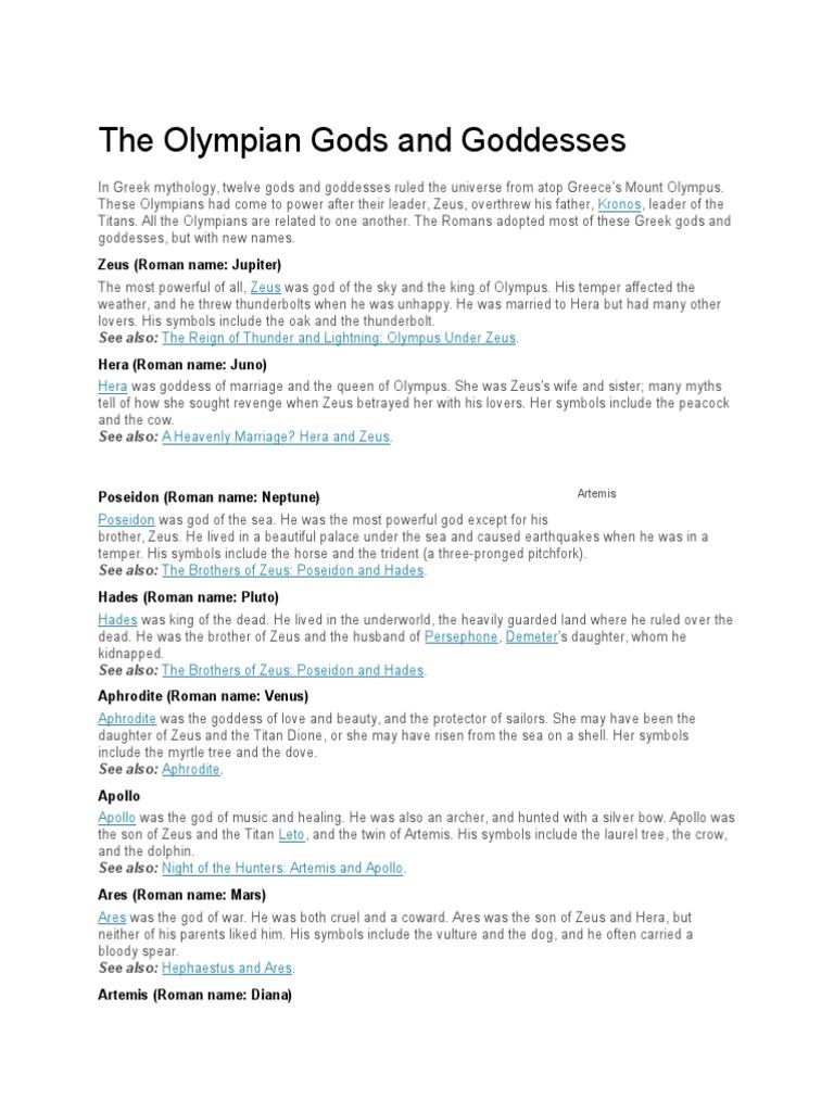 The Olympian Gods And Goddessescx Zeus Twelve Olympians
