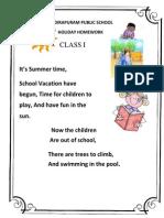 77 Holiday Homework Class 1
