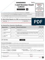 District & Sessions Court, Lahore Application Form 2015