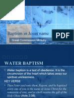 Baptism in Jesus Name Slideshow.