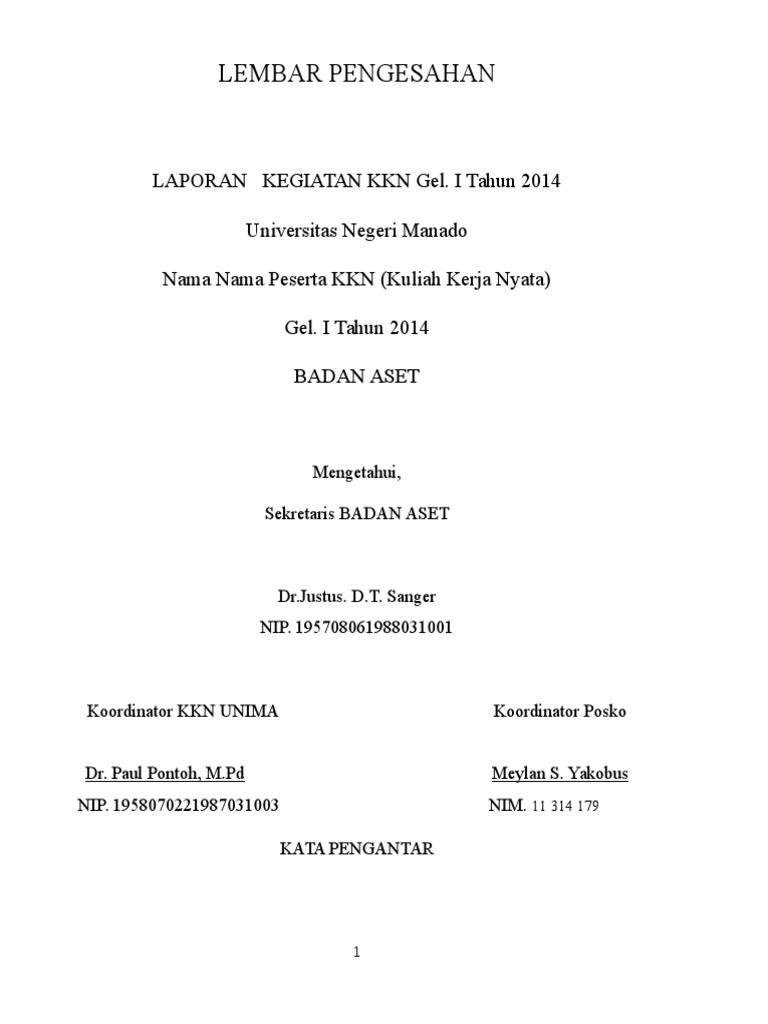 Contoh Format Laporan Kkn Unima