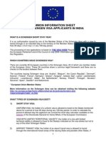 Common Information Sheet for Schengen Visa Applicants in India