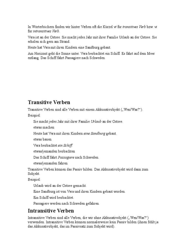 Gemütlich Arbeitsblatt Auf Transitiven Und Intransitiven Verben Mit ...