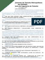 Examen Sin Contestar Del Reglamento de Trà Nsito Metropolitano Del EDOMEX 2014