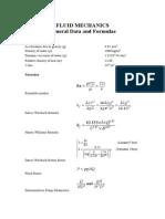Fluid Mechanics Datasheet