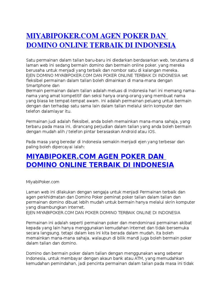 Miyabipoker Com Agen Poker Dan Domino Online Terbaik Di Indonesia Docx