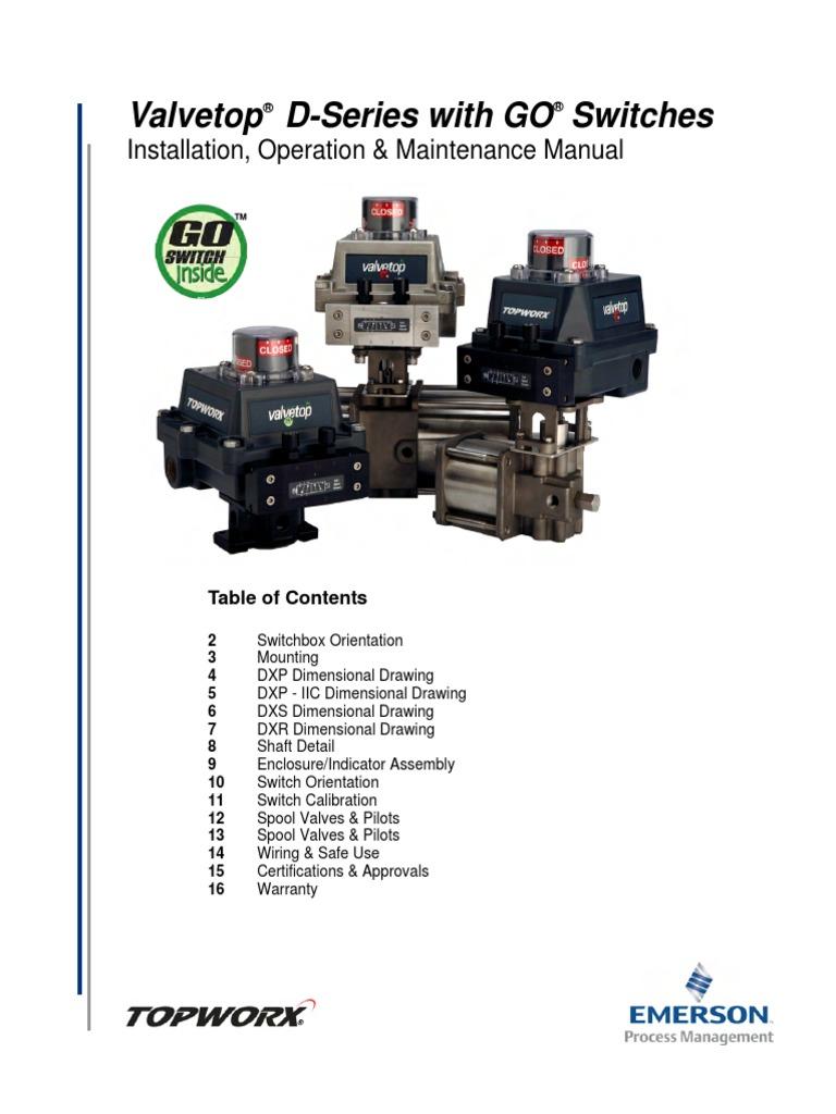topworx valvetop d series with go switches manual valve screw topworx limit switch wiring diagram at Topworx Limit Switch Wiring Diagram