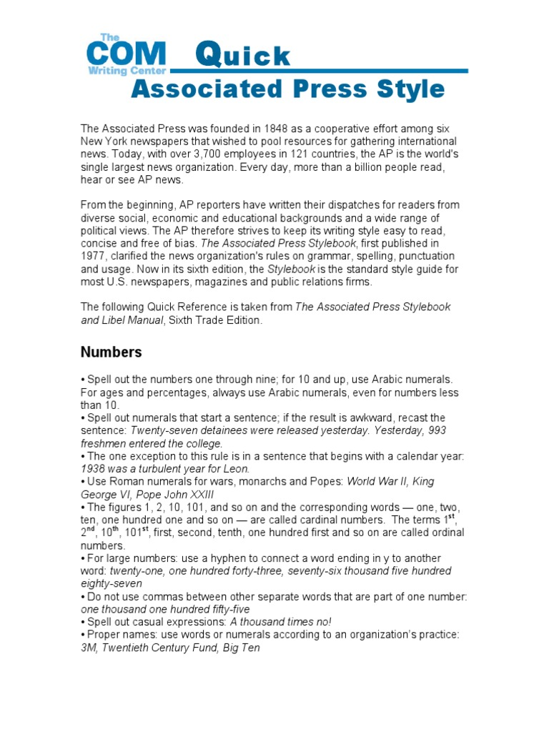 ap style guide pdf Why a style guide a pdf version is available for use on computers the ap stylebook is published each year and can be purchased at all major bookstores.
