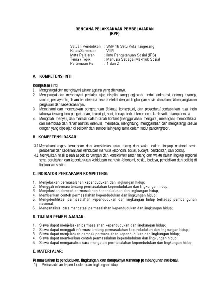 Contoh Rpp Ips Kelas 8 Kurikulum 2013 - Temukan Contoh