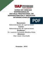 Administracion de Operaciones Resumen