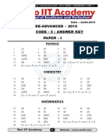 IIT-JEE Advanced-2015 Paper-1 Answer Key Code-5 Ver-3
