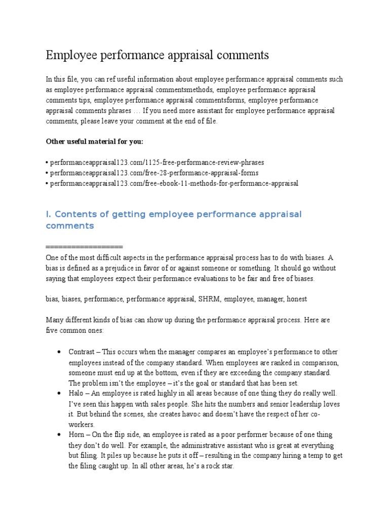 Employee Performance Appraisal Comments | Performance Appraisal ...