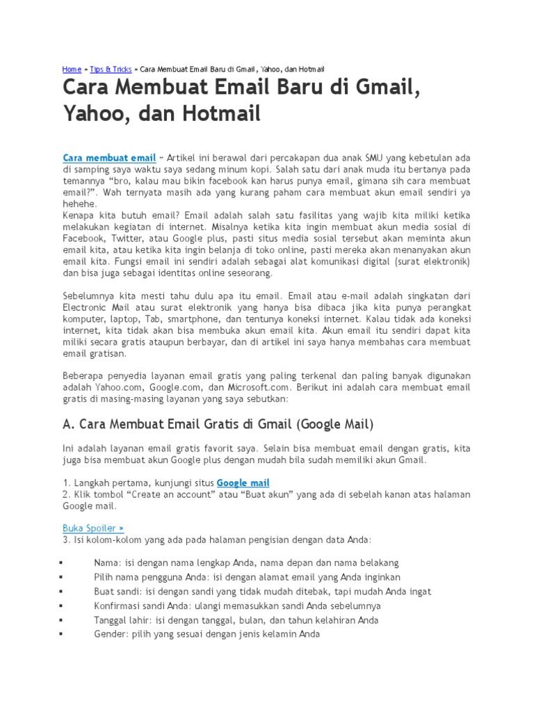 Cara Membuat Email Baru Di Gmail Yahoo Dan Hotmail
