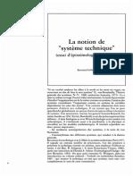 """Gille La Notion de 'Systeme Technique"""""""