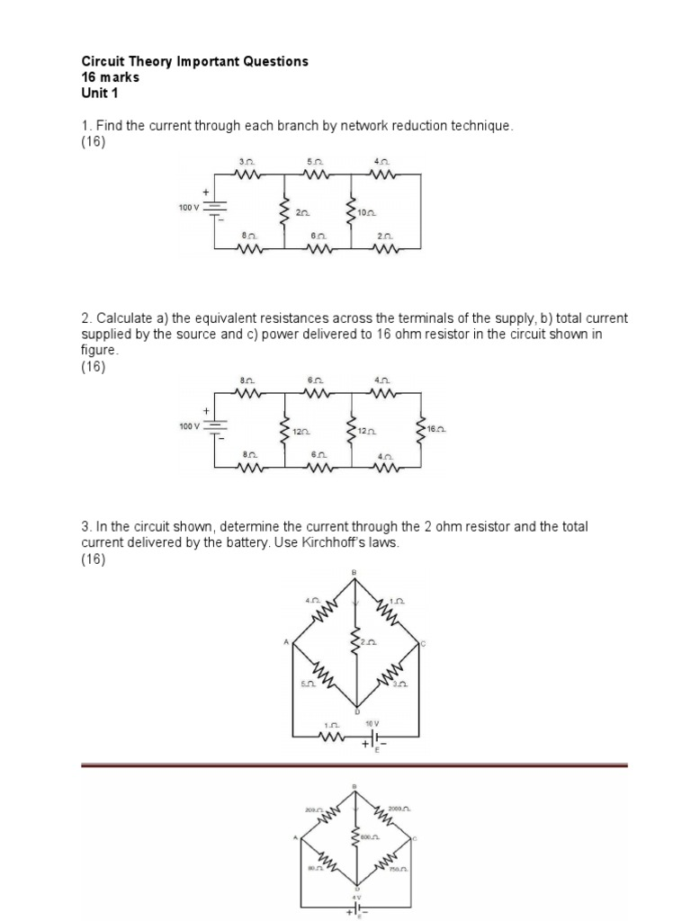 Ct Important Questions Electrical Network Impedance Find Equivalent Resistance In This Circuit