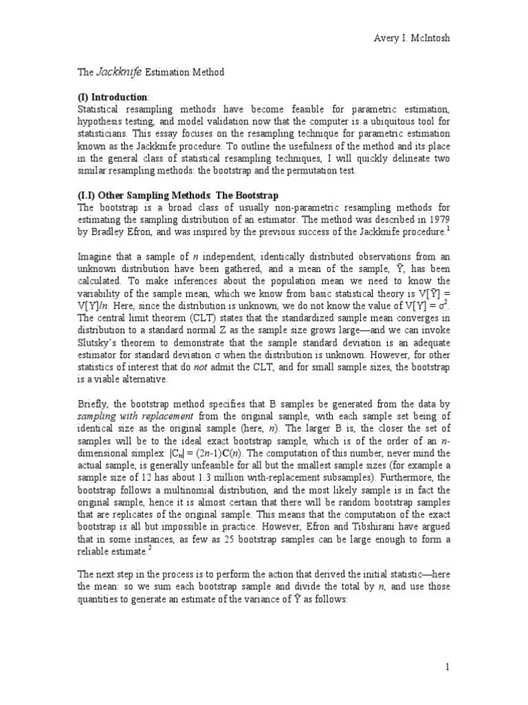Jackknife | Resampling (Statistics) | Bias Of An Estimator