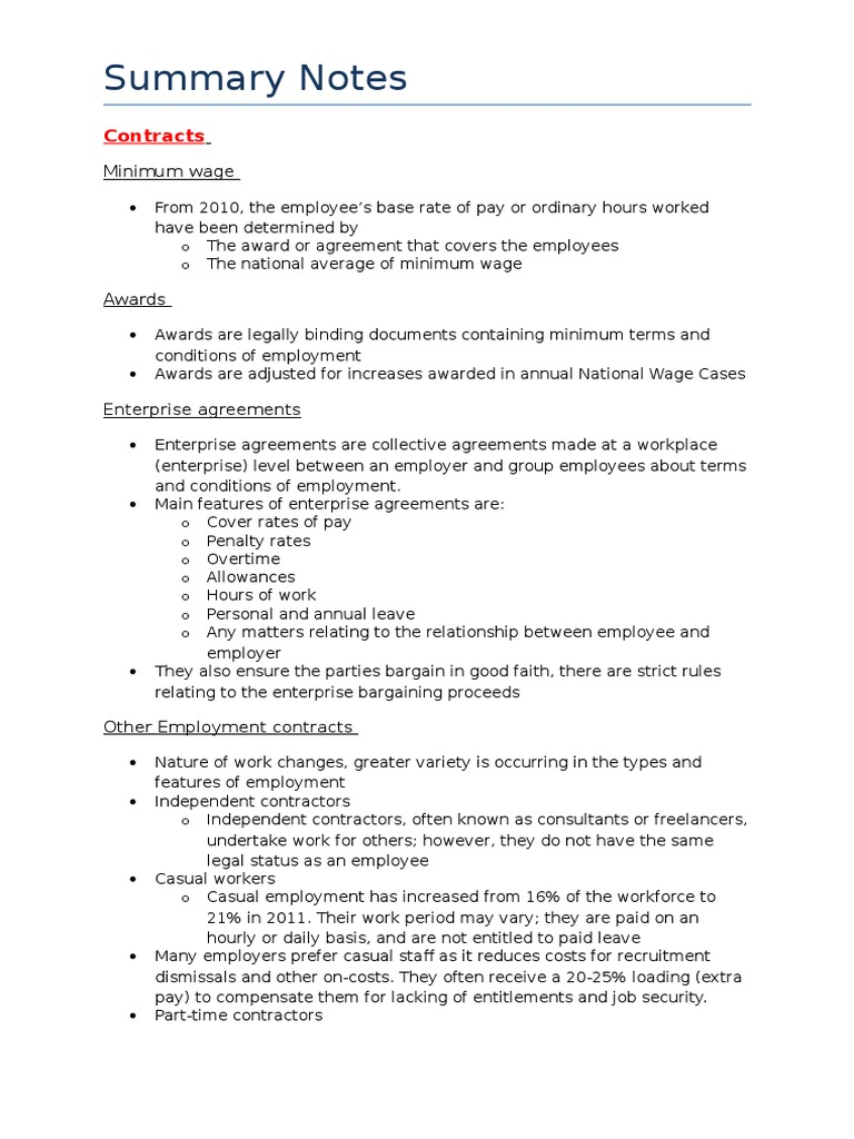 Summary notes employment occupational safety and health platinumwayz