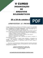 Folder v Curso Organização de Arquivos Eclesiásticos