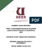 LA DOLARIZACION EN EL ECUADOR ¿Salto al Vacío