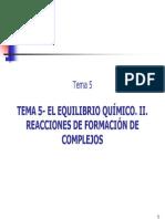El Equilibrio Quimico. II. Reacciones de Formacion de Complejos(1)