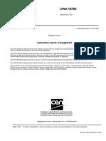 Laboratory Biorisk Management CWA 15793
