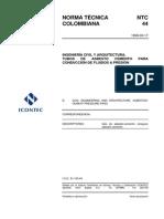 NTC 44 Tubos de Asbesto Cemento Para Conducción de Fluidos a Presión
