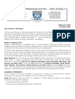 Ferdinand Postma High School Communication Letter 1/2015