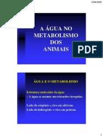 A Agua e Metabolism o Animal
