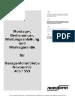 Montageanleitung Novomatic 403 553-11-02