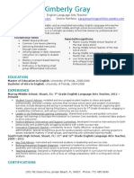 gray teaching resume