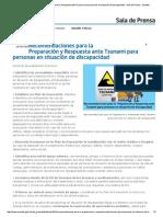 Recomendaciones Para La Preparación y Respuesta Ante Tsunami Para Personas en Situación de Discapacidad - Sala de Prensa - Senadis