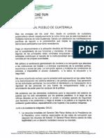 Comunicado al pueblo de Guatemala