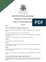 2002 FRACP Written Examination Paediatrics & Child
