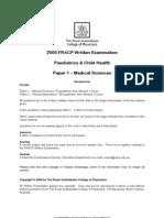2005 FRACP Written Examination Paediatrics & Child