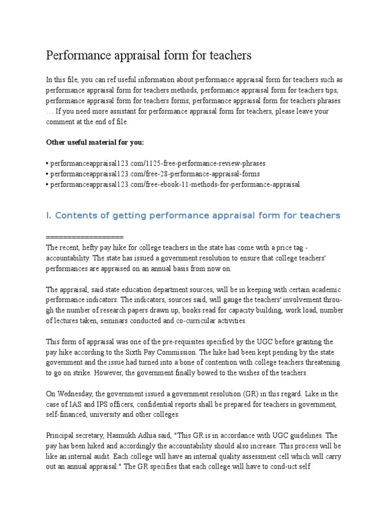 Performance Appraisal Form for Teachers Performance Appraisal