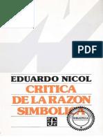 NICOL, E. - Critica de La Razon Simbolica - FCE, 2001