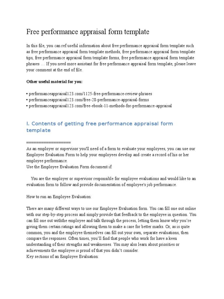 employees performance appraisal format