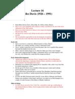 Lecture 16 (Miles Davis)