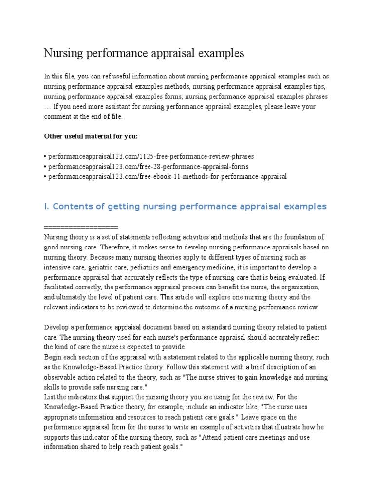 Nursing Performance Appraisal Examples | Performance Appraisal | Nursing  Performance Appraisals Samples
