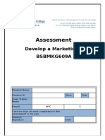 Assessment - Develop a Marketing Plan BSBMKG609A