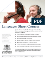 University of Lincoln Languages Short Courses 2014-15