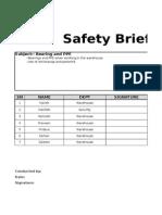 Safety Brief Format