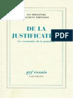 Boltanski Et Thevenot de La Justification